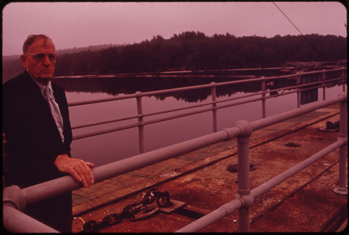 8. Walter Lawrence, the Rivermaster, at Gulf Island Dam in Lewiston on the Androscoggin River, June 1973.