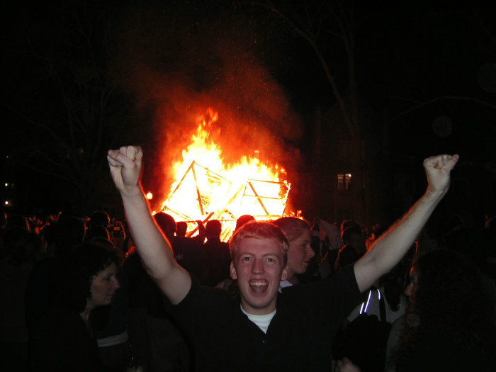 7. Building a massive fire because you won a basketball game.