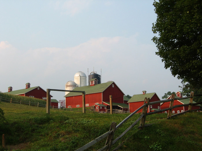 5. With the rolling hills of rural areas, you may be able to spot a barn above and below you.