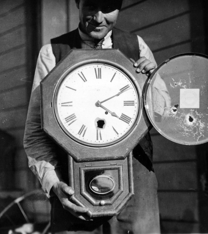 14. A bullet fired by one of Villa's men hit the train depot clock, stopping it.