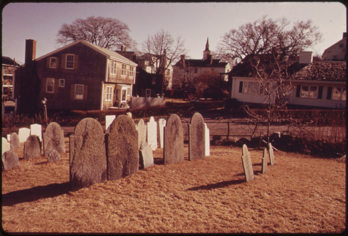 7. The Old Rockport Cemetery with new housing in the background, February 1973.
