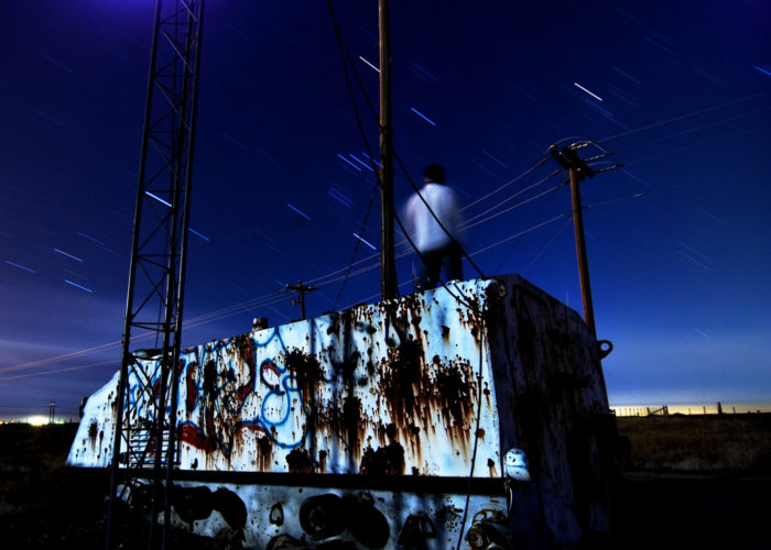 1. This old, graffiti-covered military vehicle takes on a spooky glow in this long-exposure shot.