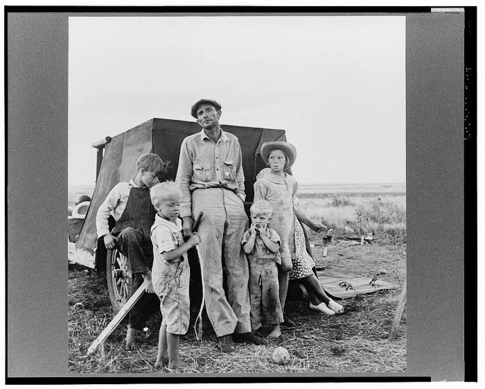 7. This professional migratory laborer is camping on the outskirts of Perryton, Texas at the opening of the wheat harvest. With his wife and growing family, he has been on the road since his marriage, thirteen years ago. He dreamt of buying a little place in Idaho. (1938)