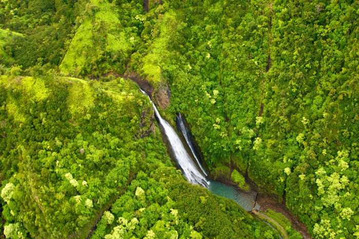 4. Jurassic Park's helipad was constructed at Manawaiopuna Falls, which is only visible from the air. On the same tour, you will probably fly through Hanapepe Valley, the same route that the helipcopter in the movie takes.