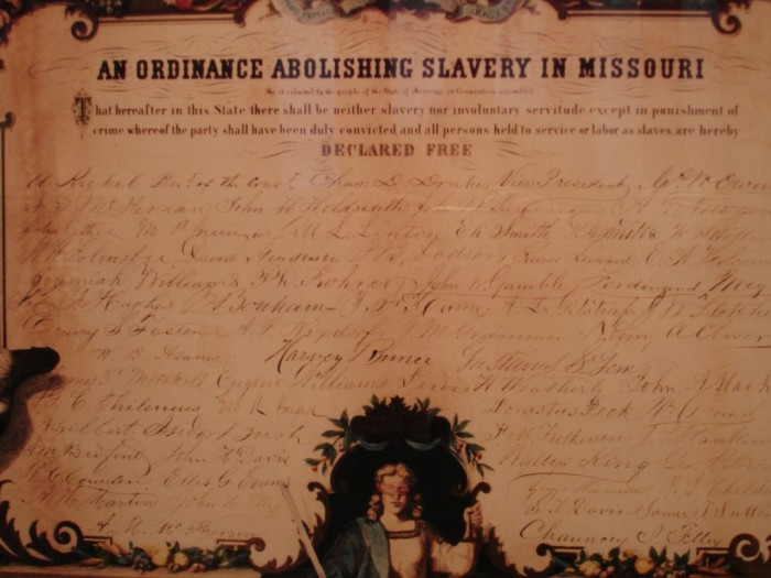 4.	In 1865, Missouri became the first slave state to free its slaves.