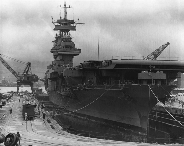 4. The USS Yorktown receives repairs for damage sustained during the Battle of Coral Sea while sitting in Dry Dock No. 1 at the Pearl Harbor Navy Yard in May 1942. The U.S. Navy aircraft carrier left Pearl Harbor the following day in order to participate in the Battle of Midway.