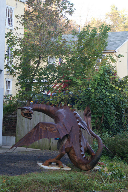 To this day, unique and beautiful art can be found all around the town, such as this dragon.
