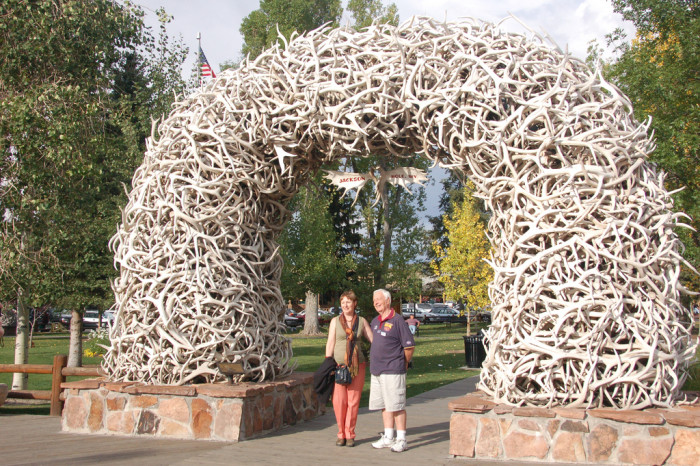 1. They're having their picture taken under the antler arch.