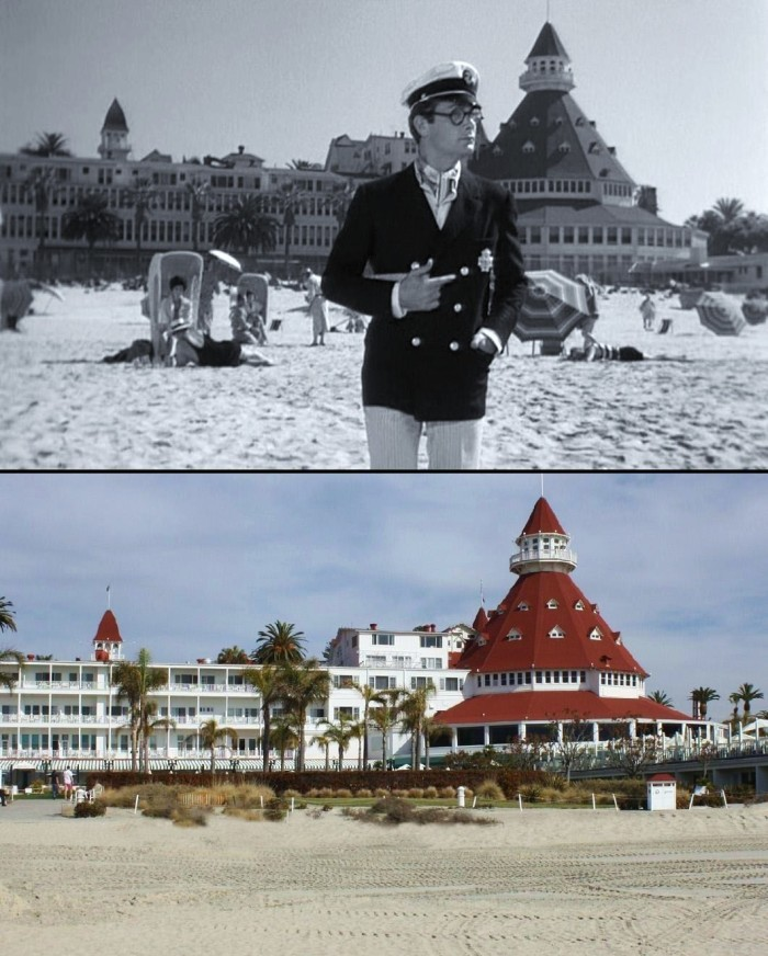 """1. The Hotel Del appeared in the 1959 film """"Some Like It Hot."""" Although the location of the hotel in the movie was Miami Beach, it was actually shot right here in Coronado in SoCal."""