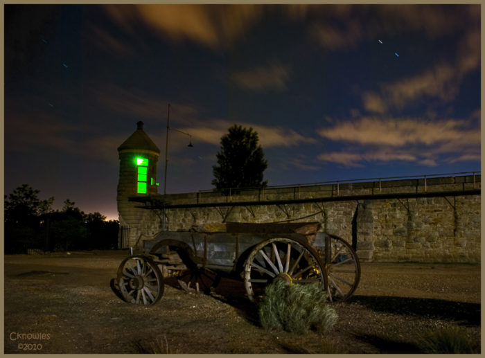 3. A single green light inside the tower at the Old Penitentiary in Boise makes for a ghostly nighttime image.