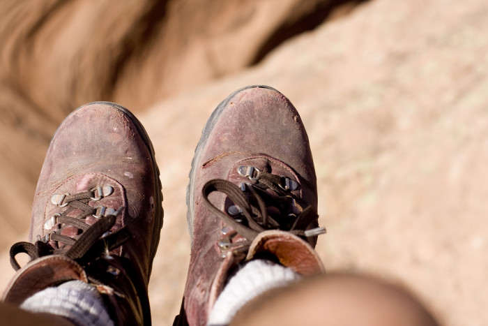 13. Well-worn hiking boots.
