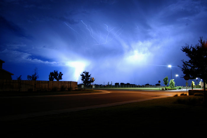 4. Lightning sets the sky on fire in Nampa.