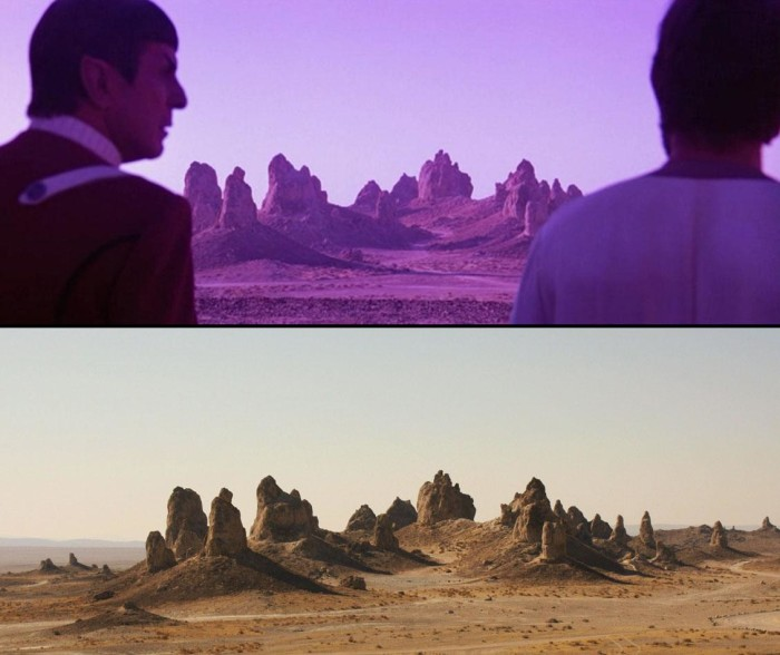 """2. The distant planet in the 1980s movie """"Star Trek V: The Final Frontier"""" isn't that distant after all. It was actually shot about 3 hours from Los Angeles at the Trona Pinnacles in the Mojave Desert."""