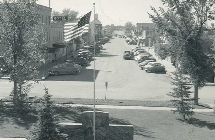 9. View of main street in Crosby, ND - 1955