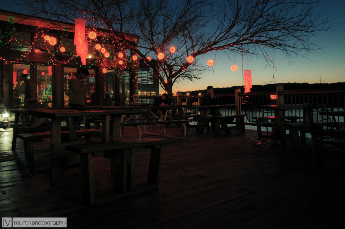 17. The Christmas light show at Mozart's Coffee on the lake.