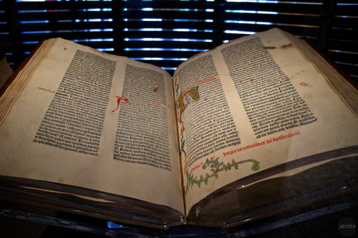 12. The Gutenberg Bible at Harry Ransom Center.