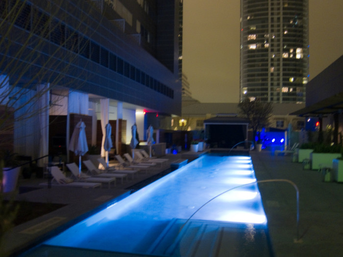 4. Book a room (on a slow night) at The W Hotel in downtown Austin, and take a late night swim in the rooftop pool.