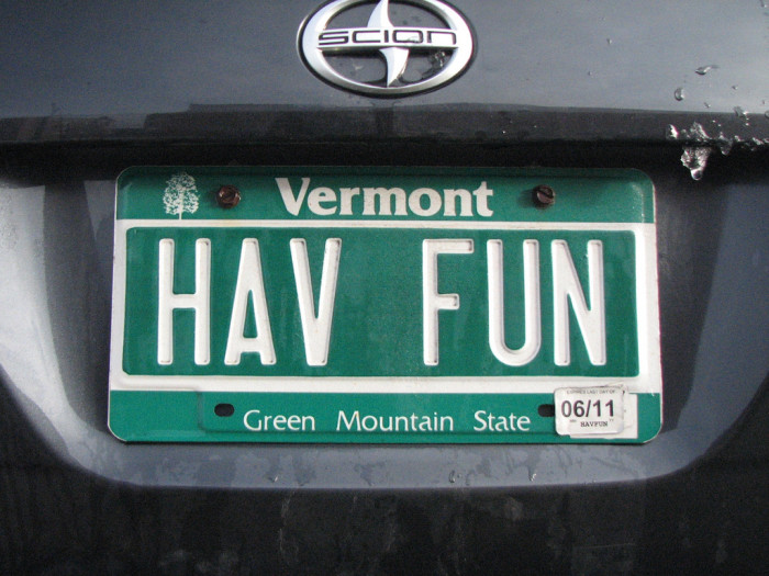 13.  Does everyone have a vanity license plate?
