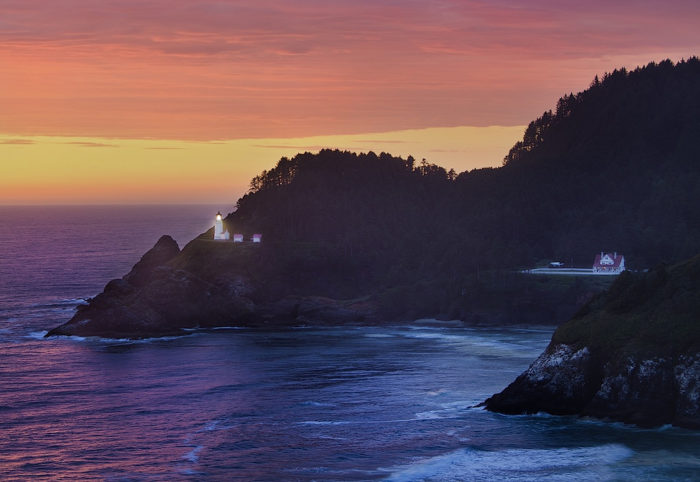 Stay the night at the beautiful Heceta Head Lighthouse.