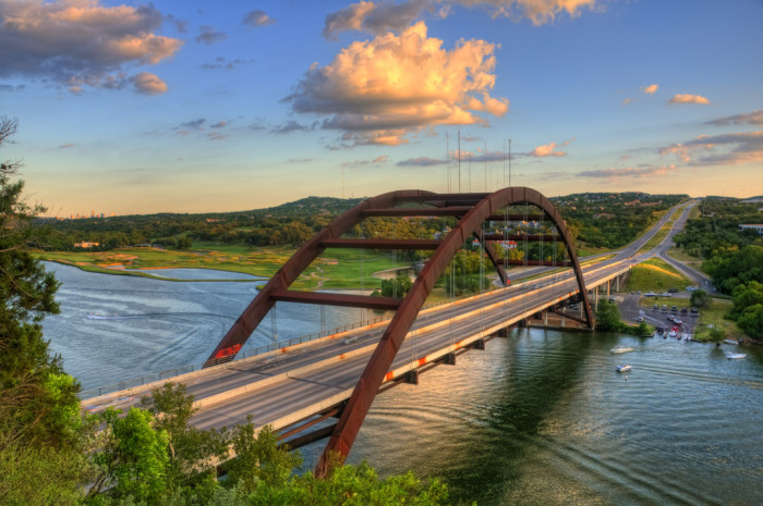 2. Everyone knows that this is Lake Austin because of the iconic 360 bridge hovering overhead.