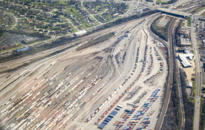 5. An aerial of the Nashville rail yard, the shot almost looks apocalyptic.