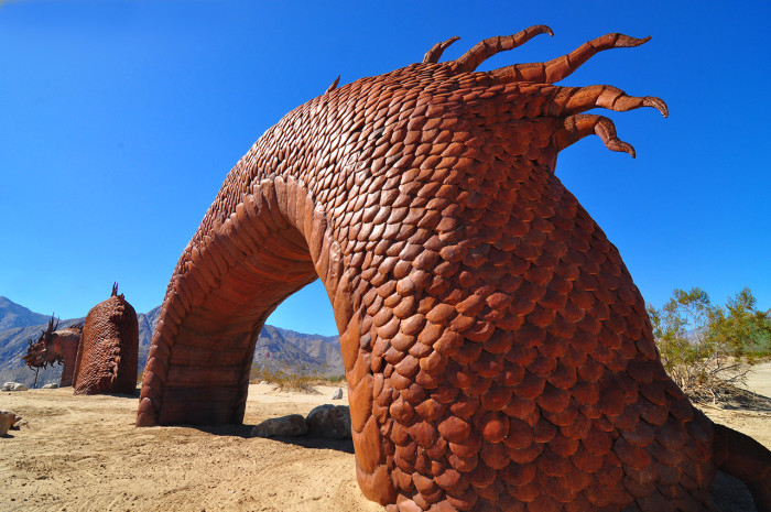 10. This metal sculpture by Ricardo Breceda found in the middle of Anza  Borrego State Park will renew your faith in the unexpected beauty of rare art that's found in the most unexpected places.