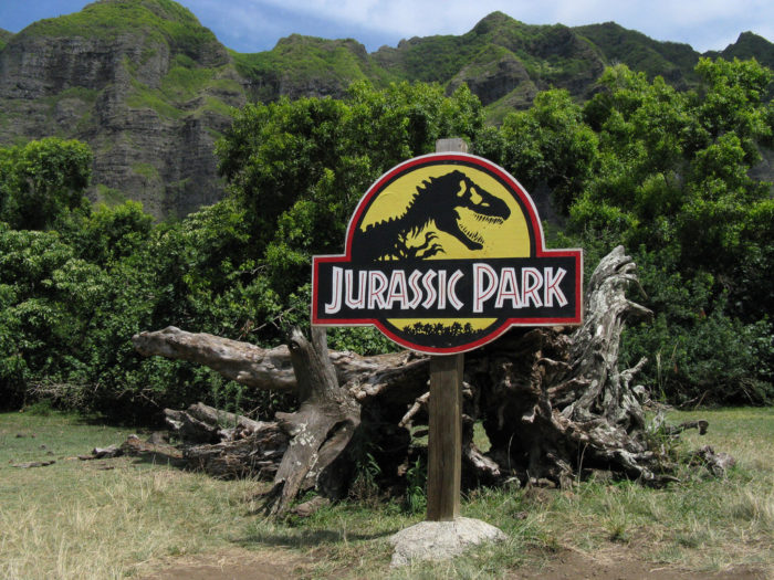 7. Filmed at Kualoa Ranch, on the island of Oahu, is the scene where Alan Grant and the children unfortunately find themselves in the path of a herd of Gallimimus fleeing from a T-Rex. The fallen tree under which they take shelter can be found on the ranch.
