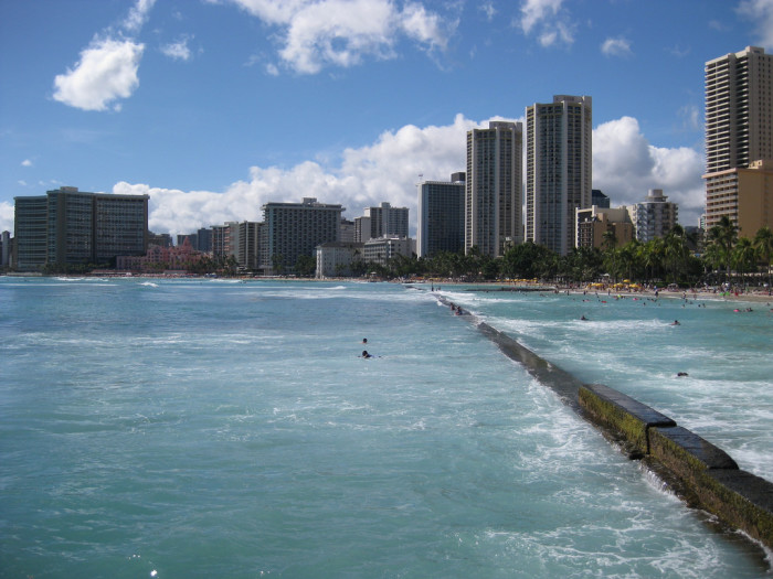 7. Waikiki Beach is partially engineered, and has been filled with imported sand for decades – and it is unfortunately in danger of being lost entirely. The beach has faced erosion problems since the late-1800s, when hotels and homes were built too close to the natural shoreline.