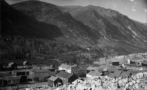 Town view from the Depot (c. 1900)
