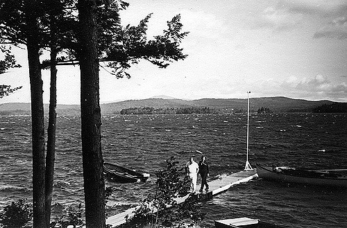 This photo of a blustery day on the lake shows how much simpler and smaller boats and docks were.