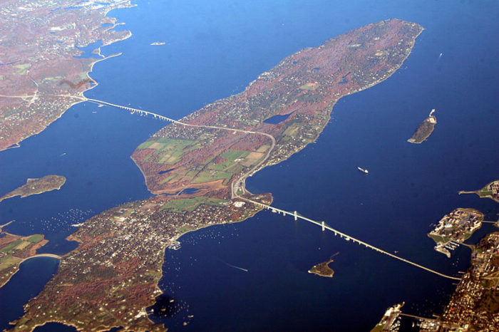 Starting off with an aerial shot allows us to take in just how expansive the bridge really is.  It's so massive that it became New England's longest suspension bridge upon its completion in 1969!