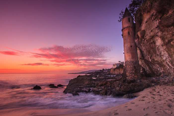 2. Unexpected treasures on the beaches of Southern California will make your day memorable. Pictured here is the hidden tower on Victoria Beach in Laguna Beach.