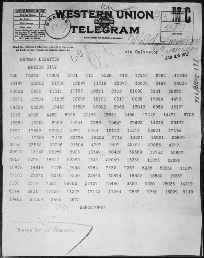 8. In 1917, Germany sent a coded telegram to their ambassador in Mexico that not only proposed an alliance between the two countries but also suggested returning some old territories to Mexico.