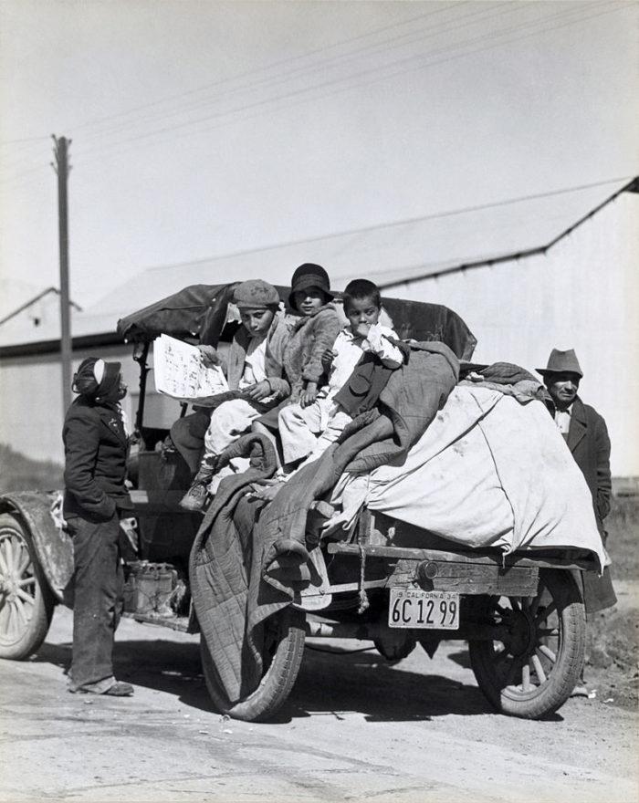 3. A migrant farm family making their way through Southern California.