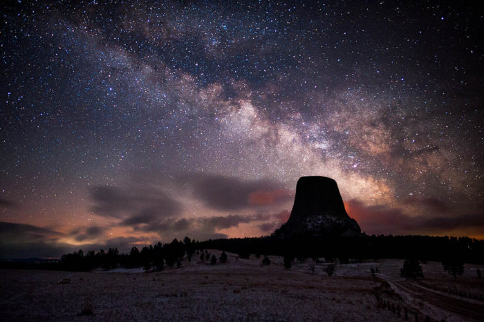 16. What a beautiful eerie night shot of the Milky Way over Devils Tower. This photo looks like it is from another world.