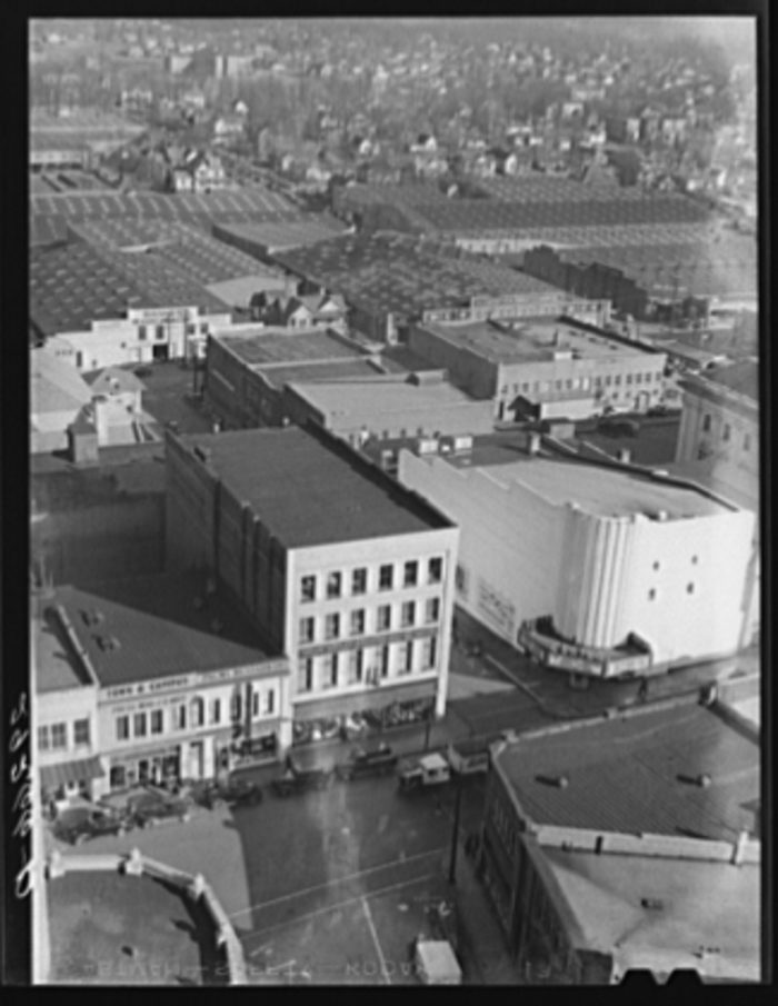 6. An aerial perspective of Durham and the tobacco warehouses.