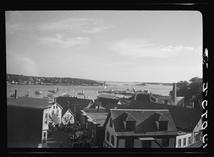 10. Homes leading to the harbor in Boothbay Harbor, 1939.