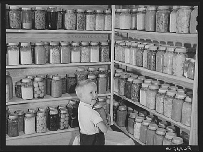 9. Bobby Willis gathering some things off the shelves his father, W.H Willis, built. Yanceyville 1940.
