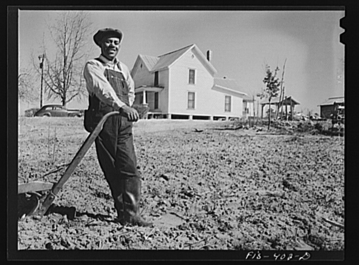 1. Feggen Jones resting on his plow in Zebulon, 1942