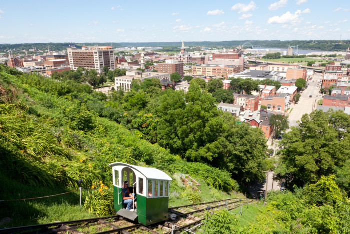 9. Go for a ride on the shortest and steepest railway in the world - the Fenelon Place Elevator Car in Dubuque.
