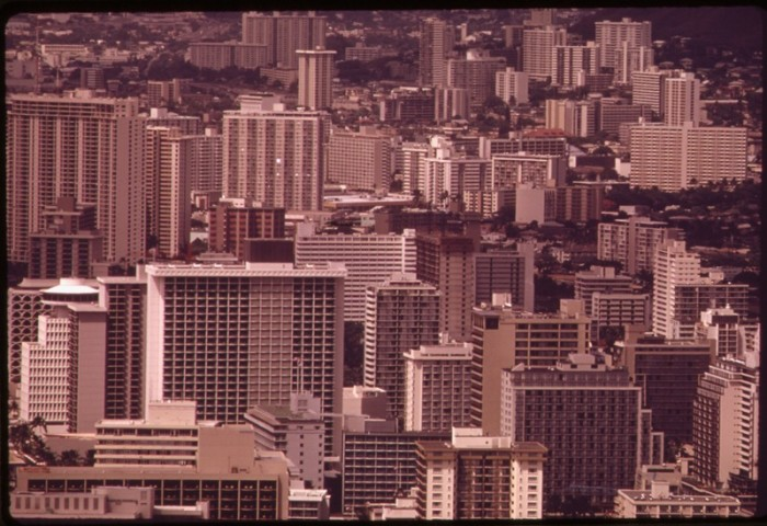 9. In The 1970s, Waikiki was expanding into the sky with dozens of high rise apartment buildings and hotels.