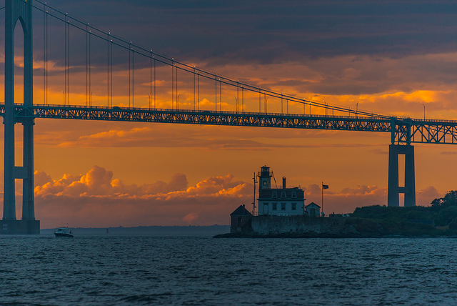 The bridge also boasts beautiful views of Rose Island Lighthouse and other breathtaking attractions.