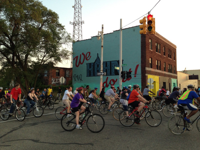 Pictured here, cyclists partaking in Slow Roll.