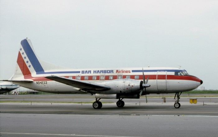 1. A Convair CV-600 from the, now defunct, Bar Harbor Airlines fleet.