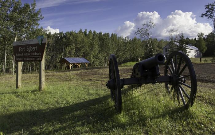 Replica cannon at historic Fort Egbert in Eagle, Alaska