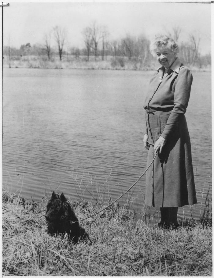 16. Eleanor Roosevelt walking her beloved dog Fala through Hyde Park, New York.
