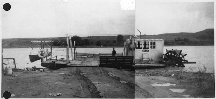 """8. A ferry named """"Corky"""" docked in Pembina, ND - 1950"""