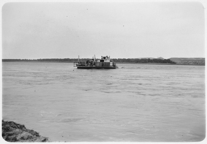 3. Ferry crossing the Missouri River near Independence, ND - 1952