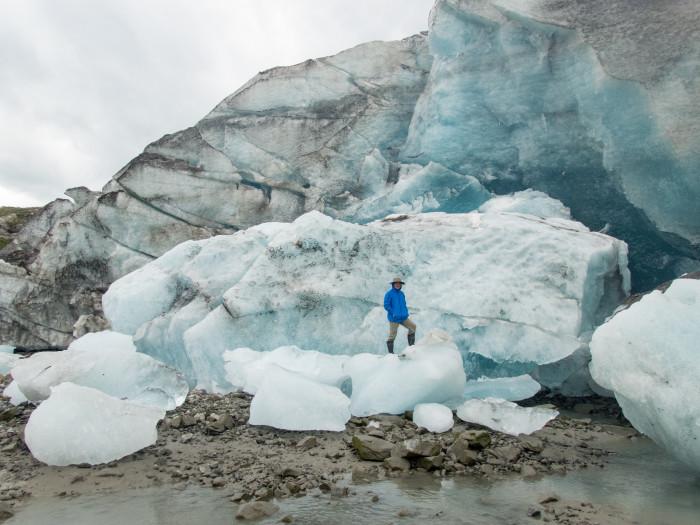 Exploring Lamplugh Glacier at low tide, Glacier Bay National Par