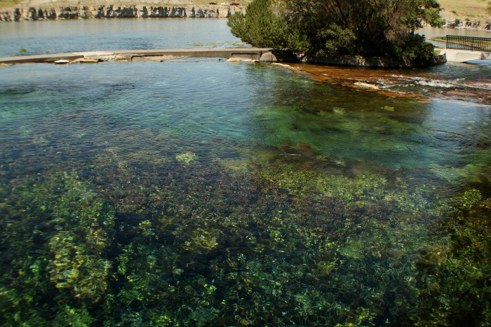 The water from Giant Springs originates from melting snow on the Little Belt Mountains 60 miles away.